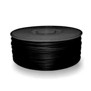 A spool of ABS plastic filament in 1KG Black