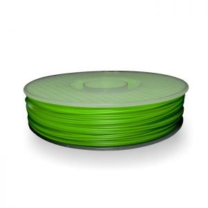 A spool of ABS plastic filament in 500g Lime