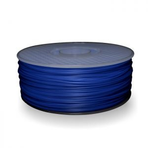 A spool of ABS plastic filament in 1KG Blue